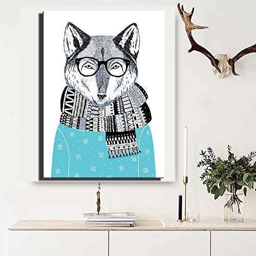 yhyxll Digitaldruck Tiere Wohnkultur Poster Cosplay Abstrakte Fox HD Leinwand Gemälde Auf Leinwand ungerahmt Für Kinderzimmer Dekor 50x75...