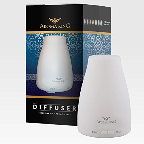 Essential Oil Diffuser, Aroma King Portable Ultrasonic Aromatherapy Cool Mist Aroma Humidifier with 7 LED Changing light colors, Auto Waterless Shut Off...