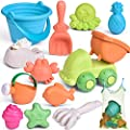 FunLittleToy Kids Beach Sand Toy Set, Beach Bucket, Car, Watering Can, Shovel, Rake, Eco-Friendly Sandbox Toys Kids Outdoor Toys 12 Piece