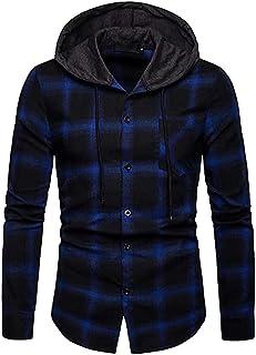Sponsored Ad - Kilborn·pataky Men's Flannel Shirts Long Sleeve Flannel Hoodie Lightweight Hoodied Plaid Button Closure Shirt
