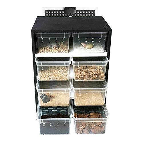 DIFU Reptile breeding Cabinet 8PCS Transparent breeding Box Insect Spider Turtle cage pet Lizard Tarantula breeding Box Drawer (with Hygrometer)