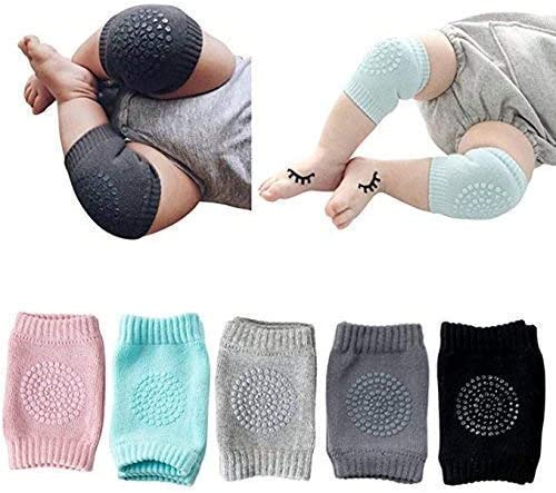 KMG® (Set of 2 Pairs) Baby Knee Pads for Crawling, Anti-Slip Padded Stretchable Elastic Cotton Soft Breathable Comfor...