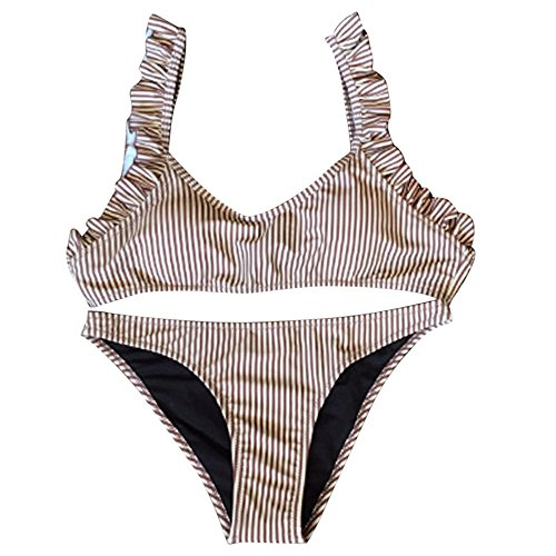 Push Up Bikini Swimsuit for Women,Pocciol Ruffles Striped Print Bathing Suit Padded Bra Triangle Bikini ( Size:S(Cup:30A/30B/32AA/32A/32B), Coffee)