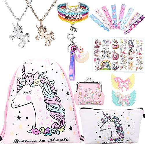 RHCPFOVR Licorne Cadeaux pour Les Filles 11 Pack, Licorne Cordon Sac à Dos/Sac à Maquillage/Collier Pendentif Licorne/Bracelet/Cheveux Attaches