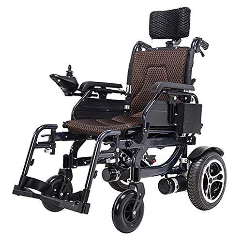 DLY Silla de Ruedas Eléctrica Ligera para Discapacitados Silla de Ruedas Plegable Ligera con Controlador Y Respaldo Reclinable para Movilidad de Personas Discapacitadas