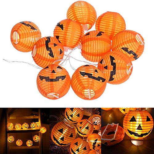 NL 1 Set 10 LEDs Halloween Pumpkin Light for Halloween Decorations, Indoor and Outdoor Party FavorsWarm White Flickering (Emitting Color : 1.2M 10 LEDs)