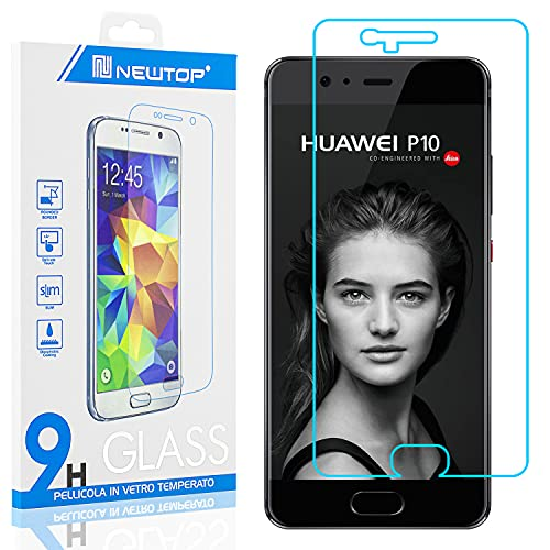 N NEWTOP [1 PEZZO] Pellicola GLASS FILM Compatibile con Huawei P10, Fina 0.3mm Durezza 9H Vetro Temperato Proteggi Schermo Display Protettiva Anti Urto Graffio Protezione