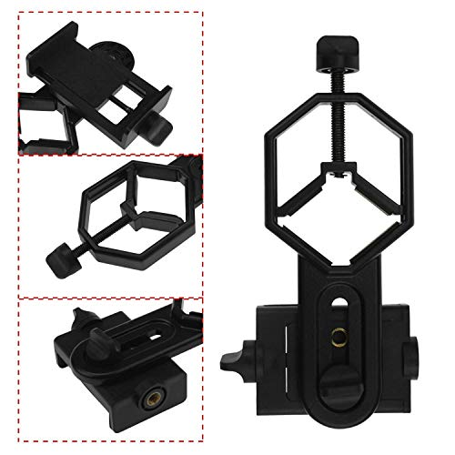 Alstar Universal Cell Phone Adapter Mount Support Binocular Monocular Spotting Scope Telescope and Microscope Optical Device - Black
