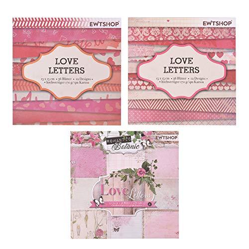 ewtshop® 3 blocs de 36 hojas cada uno, papel de diseño, papel para manualidades, papel decorativo, 108 hojas, 36 diseños ⭐