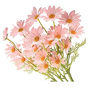 Silk Flower Arrangements Simulation Small Daisy 5 Branch Cosmos Decoration Props Artificial Holding Flowers Handmade Faux Daisy Bouquet Lifelike Fake Flowers Wedding Party Decor Ornaments Home Porch Plant Decoration (Pink)