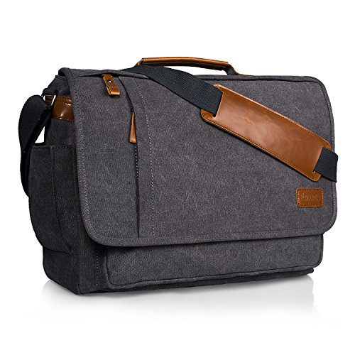 Estarer 17-17.3 inch Laptop Messenger Bag Mens Water Resistant Computer Shoulder Bag Large Canvas Briefcase for Work