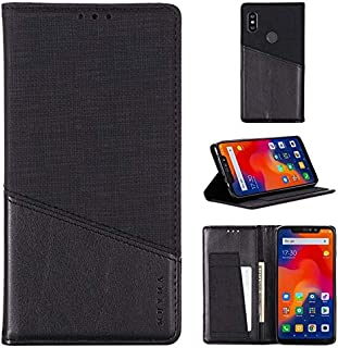 Phone Cases Covers Mobile Phone Cases RFID Blocking Wallet Case, Stitching Style Slim PU Leather Shock Absorbing Case with Hidden Magnetic Closure for Xiaomi Redmi Note 6 Pro (Color : Black)