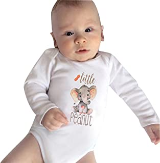 Conjunto de trajes para bebés, bebés recién nacidos bebés niñas niños dibujos animados elefante letra impresión mono mameluco blanco 6-12 meses, bebé niña niños ropa venta
