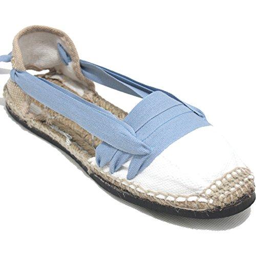 Alpargatas Tradicionales Planas Suela de Goma Diseño Tres Vetas o Tabernero Color Azul Jeans