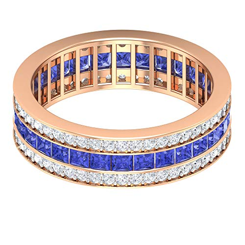 Rosec Jewels 10 quilates oro rosa talla princesa round-brilliant-shape H-I Blue Diamond Tanzanite