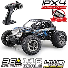 [High-speed Off-road Truck]--1/16 scale 4WD makes it more realistic and impressive. With the strong motor, the speed reach up 24Mph, its waterproof function can control different pavements. The rc truck body is removable so you can change to another ...