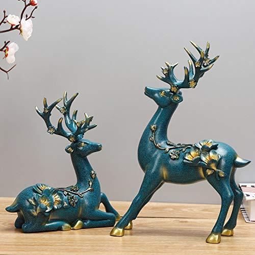 Statue Statuette Sculture Figurine,Coppia Elk Design Statuette Animali Blu Statue Creative Moderne Opere d'Arte Decorazioni Natalizie per Gli Ornamenti Dell'Orto del Soggiorno di Casa