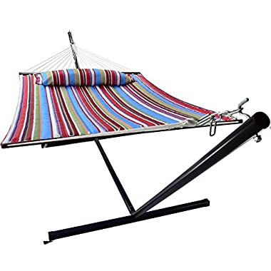 Sorbus Hammock with Spreader Bars and Detachable Pillow, Heavy Duty, 450 Pound Capacity, Accommodates 2 People, Perfect for Indoor/Outdoor Patio, Deck, Yard (Hammock with Stand, Blue/Red)