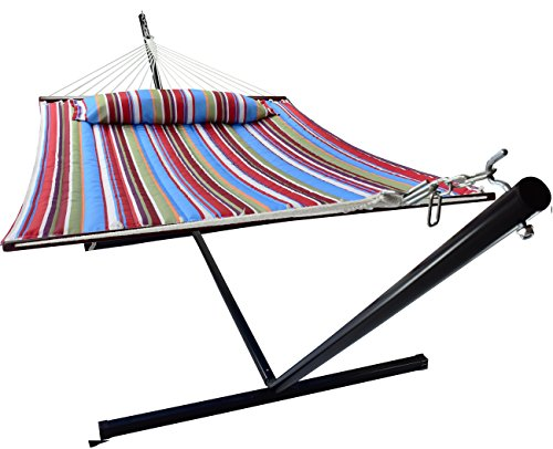 Sorbus Hammock with Stand & Spreader Bars and Detachable Pillow, Heavy Duty, 450 Pound Capacity, Accommodates 2 People, Perfect for Indoor/Outdoor Patio, Deck, Yard (Hammock with Stand, Blue/Red)
