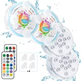 Oralys Submersible LED Pool Lights - 16 Colors Waterproof Shower Lights,Underwater Bathtub Light with Magnetic,RF Remote,Suction Cups,for Inground Above Ground Pool,Hot Tub,Fish Tank,Fountain-4 Pack