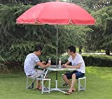 FDASIA Mesa Plegable Muebles de ratán de Mimbre con Forma de Maleta portátil Envío Gratuito Mesa Plegable PicnicTravel Outdoor Tables-Orange-