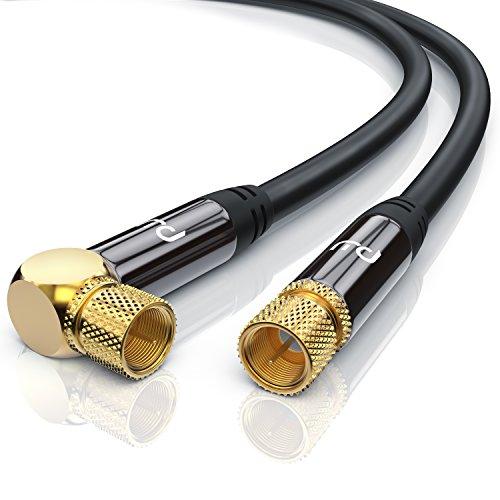 CSL - 12,5m 135dB HDTV Satellitenkabel 75 Ohm 90° gewinkelt - Premium SAT Koaxialkabel - DVB-S, DVB-S2 und Kabelinternet - robuste Vollmetallstecker - Abschirmmaß 135db - hochdichte 4-Fach Schirmung