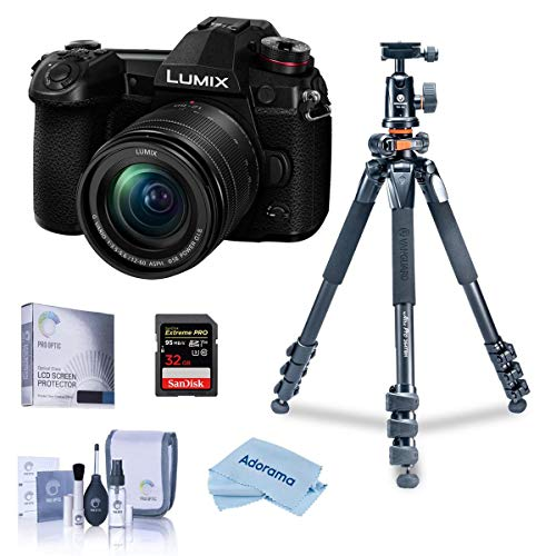 Panasonic Lumix G9 4K Mirrorless Camera with Lumix G Vario 12-60mm f/3.5-5.6 Lens, Bundle with Vanguard Tripod Kit