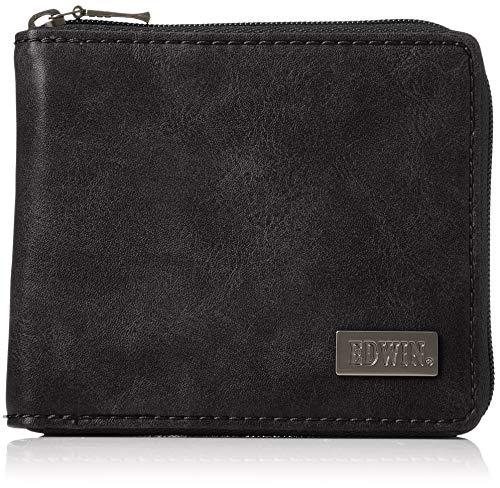 [エドウィン] 二つ折財布 ダークメタルプレート 紙幣収納 小銭収納 カードポケット 22229055 60.ブラック