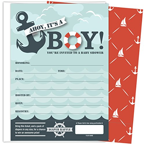 Koko Paper Co It's A Boy Nautical Baby Shower Invitations with...