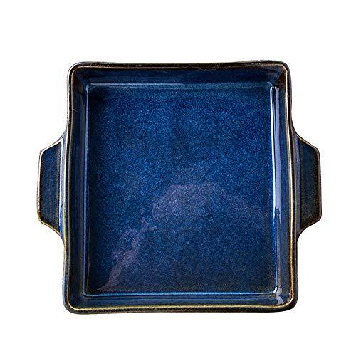 yaunli Bakeware 2 Stück Keramik-Brennofen wurde blau Binaural Platz Gebackene Reis Käse Gebackene Backblech 9 Zoll...