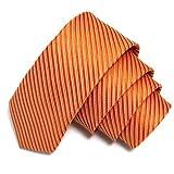 GASSANI Orange schmale dünne 5cm Krawatte gestreift | Skinny Herrenkrawatte zum Sakko Anzug | Schlips Binder einfarbig mit Streifen