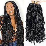 18 Inch 6 Packs New Faux Locs Crochet Hair Pre-Loop Wavy Black Soft Faux Locs Crochet Braiding Hair for Women Dreadlocks Hair Synthetic Hair Extensions (18 Inch,1B#)