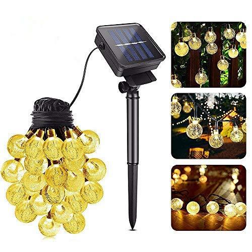 LED Solar Lichterkette Aussen, Huttoly 8 Modi Glühbirne Lichterkette, 30 LED Kugeln Lichterkette Außen Deko für Garten, Bäume, Terrasse, Hochzeiten, Partys, Innen (6.5 Meter 30er Warmweiß)