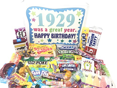 Woodstock Candy ~ 1929 91st Birthday Gift Box of Nostalgic Candy from Childhood for 91 Year Old Man or Woman Born 1929