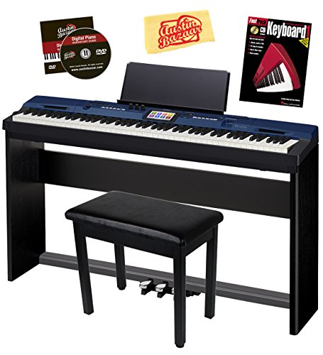 Buy Discount Casio Privia PX-560 Digital Piano – Blue Bundle with CS-67 Stand, SP-33 Pedal, Furniture Bench, Instructional Book, Austin Bazaar Instructional DVD, and Polishing Cloth
