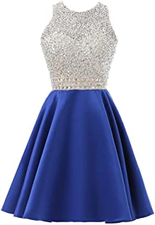 Meilishuo Beaded Sparkly Prom Ball Gown Short Mini Homecoming Dresses Tulle Cocktail Party Dresses LF122
