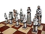 Juego de ajedrez de piedra de mármol de Inglaterra, Egipto, GRUNWALD en tablero de ajedrez de madera, temático, ¡cada figura pintada a mano! (GRUNWALD)