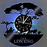 Der König der Löwen Wanduhr LED Vinyl-Wanduhr 12 Zoll Quarzuhr | Handgemacht Wohnkultur Disney Geschenk für Kinder und Freunde | Kreative 7 Farbe des Nachtlichts leuchtende Wanduhr.(LK 2-1 With LED)