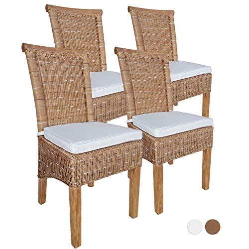 Casamia Perth - Juego de 4 sillas de Comedor (ratán, sin Respaldo, 4 Unidades), Color marrón