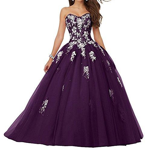 JAEDEN Damen Quinceanera Kleider mit Spitze Abendkleider Lang Hochzeitskleider Elegant Ballkleid Traube EUR44