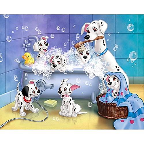 5D DIY diamante pintura completos Kits Perro de dibujos animados tomando un baño y niños Arte de diamante redondo perfecto para la relajación decoración de la pared del hogar 90x120cm U1741