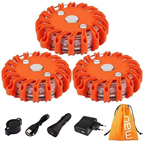 TEHEO LED Warnleuchte wiederaufladbare Signallampe mit Magnet Ausfallwarnleuchte 9 Leuchtmodi Signallicht Warnlicht für Pannenhilfe oder Unfall-3 Stücke/Orange