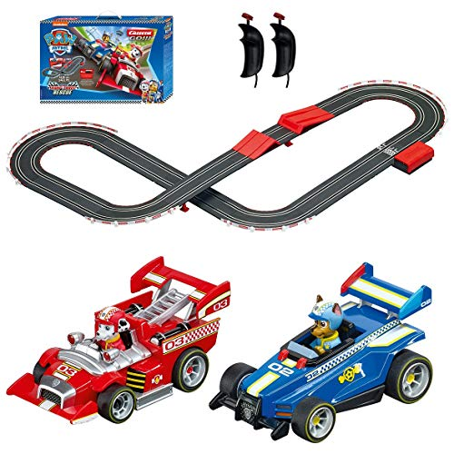 Carrera GO!!! 63514 Official Licensed PAW Patrol Battery Operated 1:43 Scale Slot Car Racing Toy Track Set with Jump Ramp Featuring Chase and Marshall for Kids Ages 5 Years and Up (20063514)