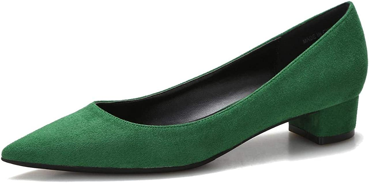 Women's Suede Low Heels Pumps Classic Toe Slip Pointed Office On Quantity Quantity limited limited