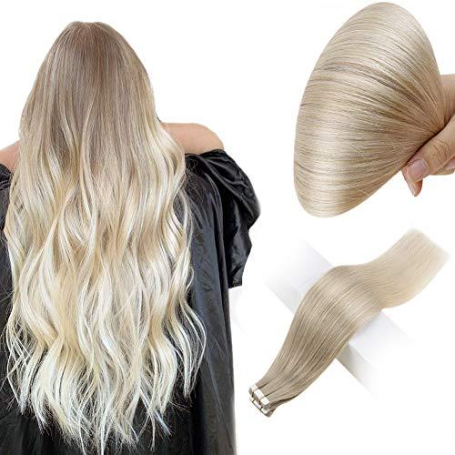 Easyouth Echthaar Tape in Remy Hair Tape 20zoll 50g Farbe #18/60 Aschblond mit Blond Mischen Ombre Tape in Hair Extensions Haarverlängerung Tape Echthaar
