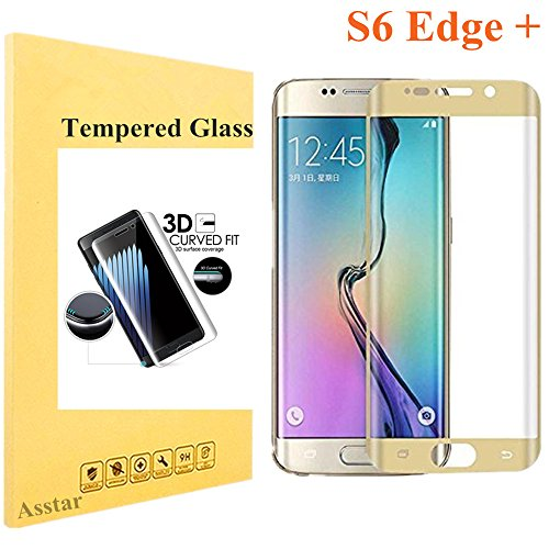 Galaxy S6 Edge Plus Tempered Glass, Screen Protector Asstar [Full Coverage] 9H 0.2mm Thinest Shatterproof Fingerprint-free Bubble free Film for Samsung Galaxy S6 Edge + (Gold)