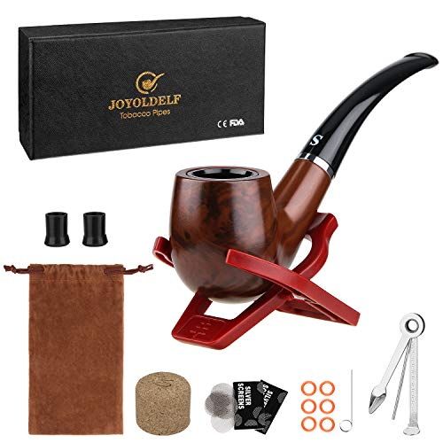 Joyoldelf Tobacco Smoking Pipe with Foldable Pipe Stand Holder, Pipe Screens, Pipe Bits and Pipe Cleaning Tool with Gift Box