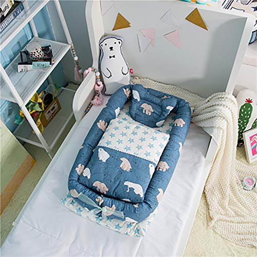 Portable Crib Newborn Folding Crib Travel Crib Anti-Pressure Baby Mattress Bionic Mattress Polar Bear