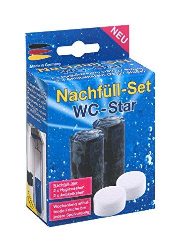 WC-Star 914104 Lot de 4 recharges avec 2 pierres hygiéniques et 2 pierres anti-calcaire pour WC Star
