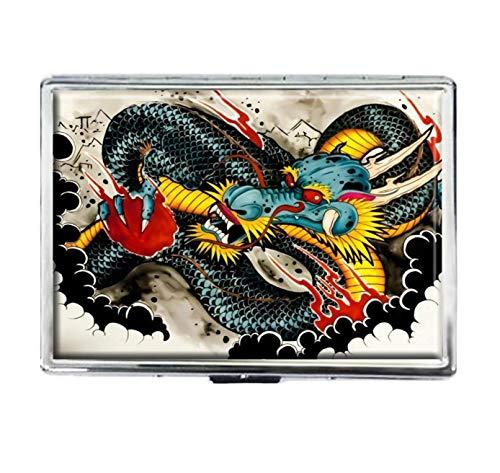 Drachen-Tattoo-Zigarettenetui, modisch, personalisierbar, aus Edelstahl, für große Zigaretten, Spender, Karten-Box, Aufbewahrungsbox, für Damen und Herren